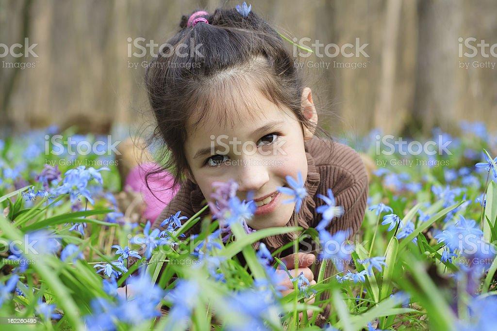 Girl among the bluebells royalty-free stock photo