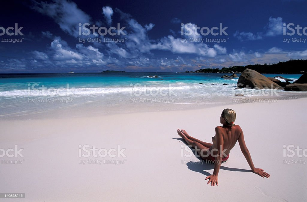 Girl an the beach royalty-free stock photo
