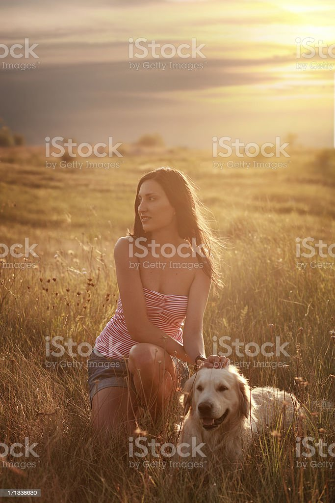 Girl and a dog royalty-free stock photo