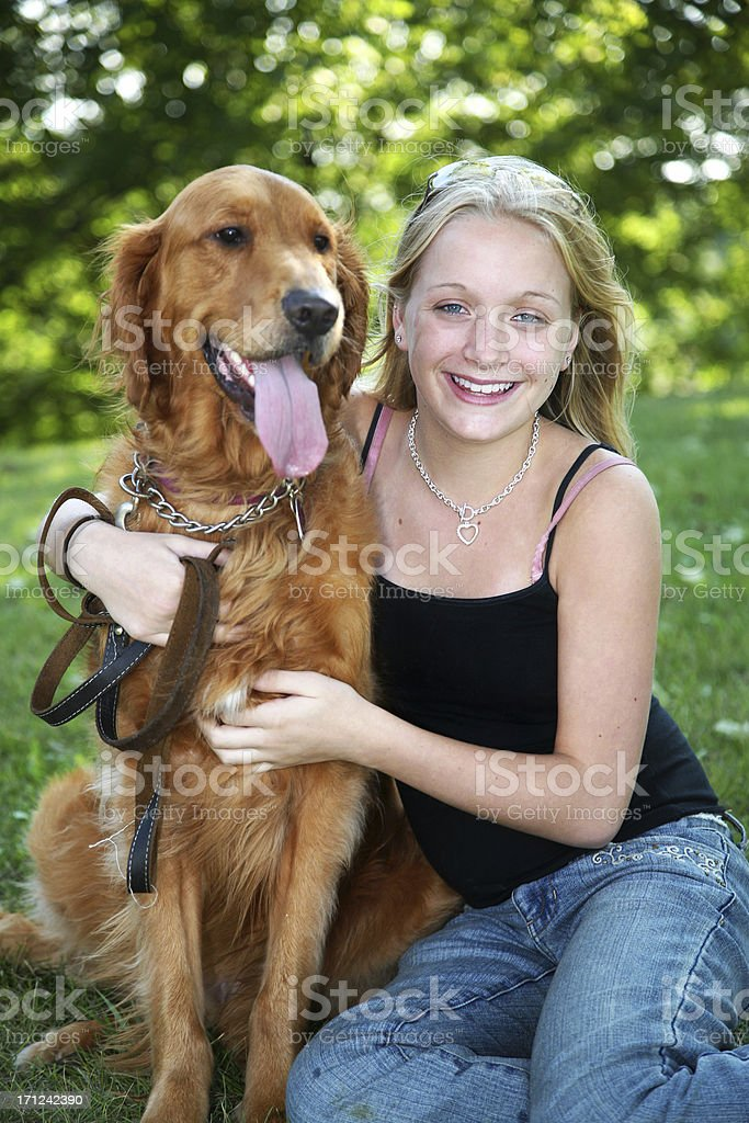 Girl and a Golden royalty-free stock photo