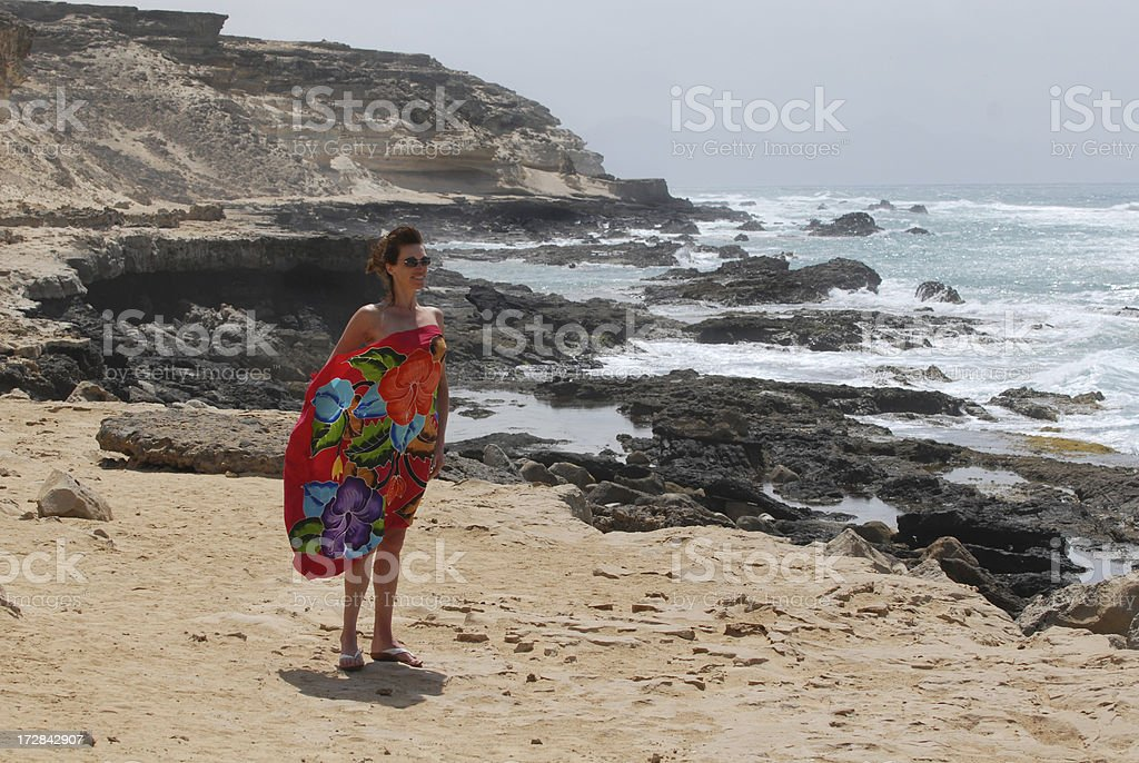 Girl and a rocky coastline royalty-free stock photo
