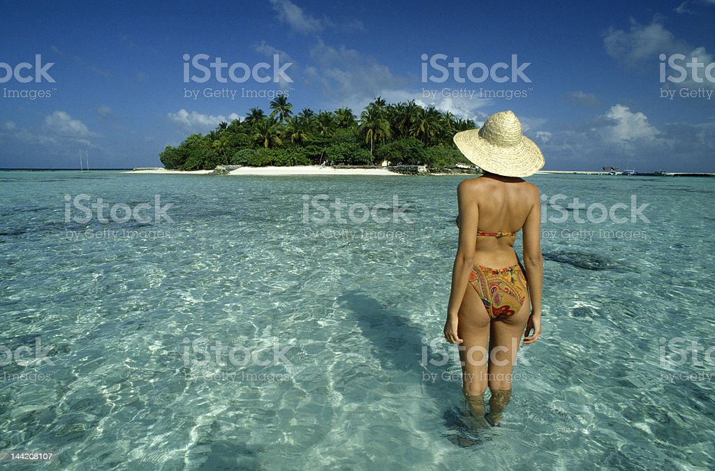 girl and atoll royalty-free stock photo