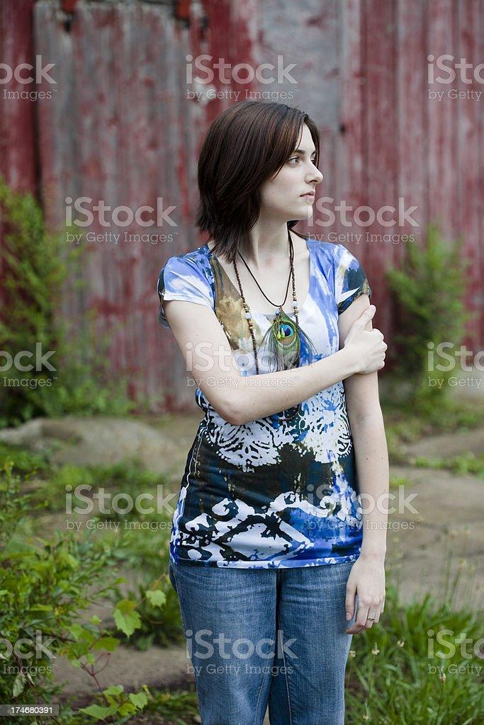 Girl and Barn royalty-free stock photo