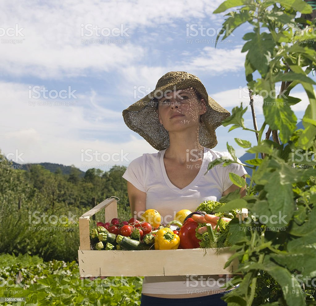 girl and basket royalty-free stock photo