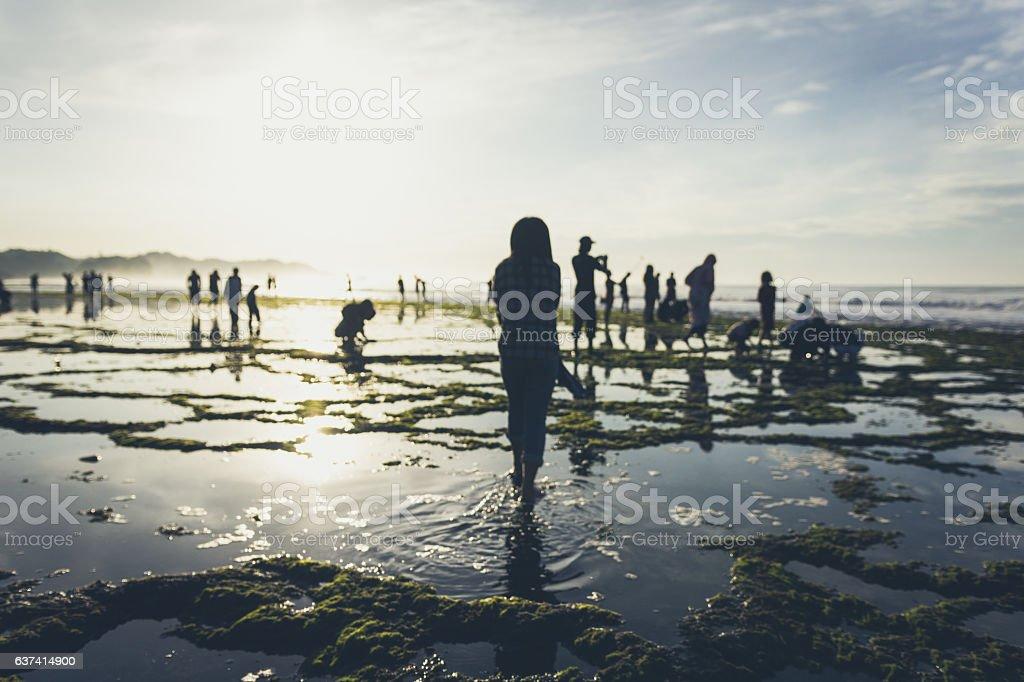 Girl and beach stock photo