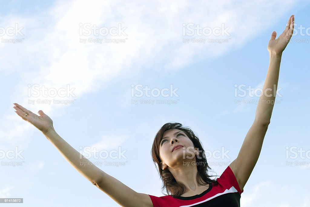 girl and blue sky royalty-free stock photo