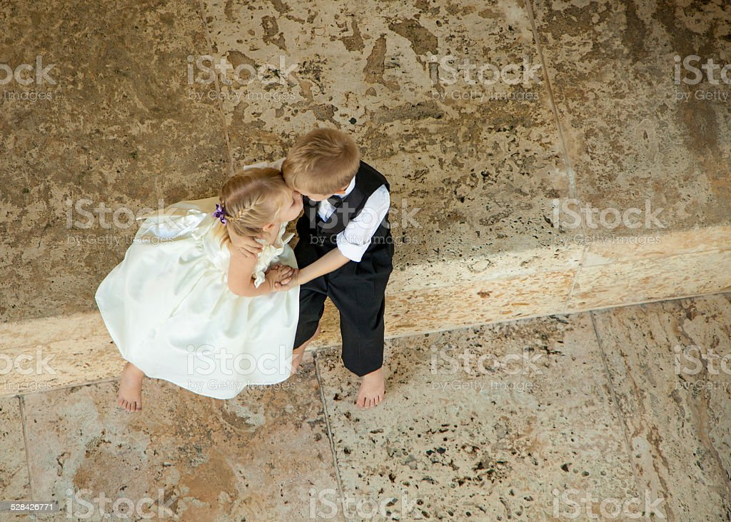 Girl and boy in love stock photo