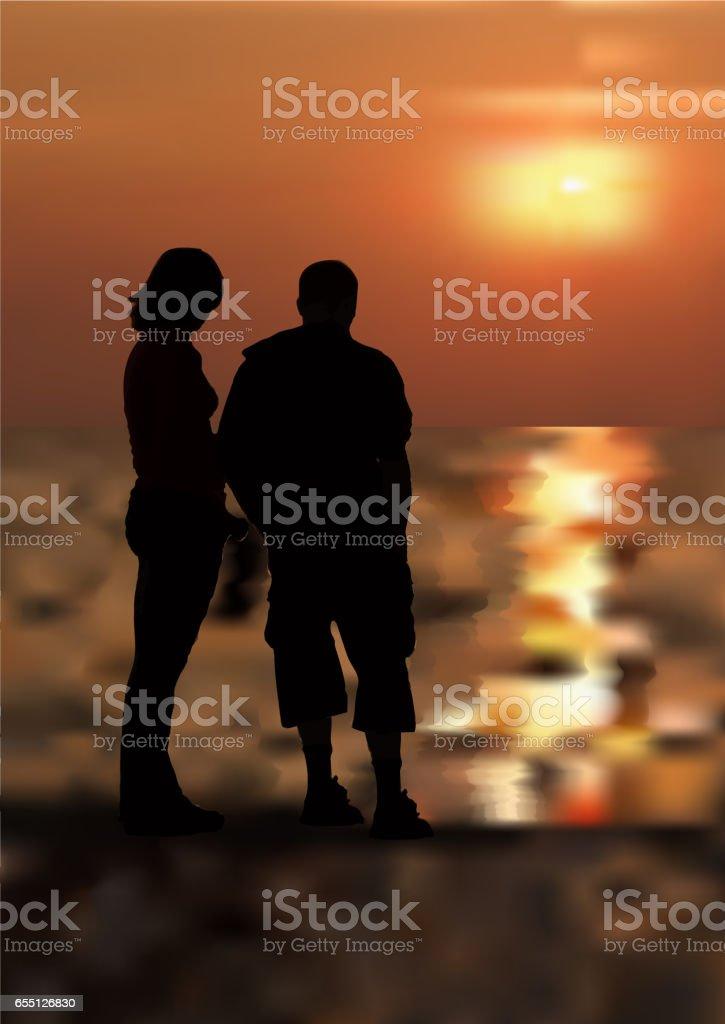 Girl and boy on the beach stock photo