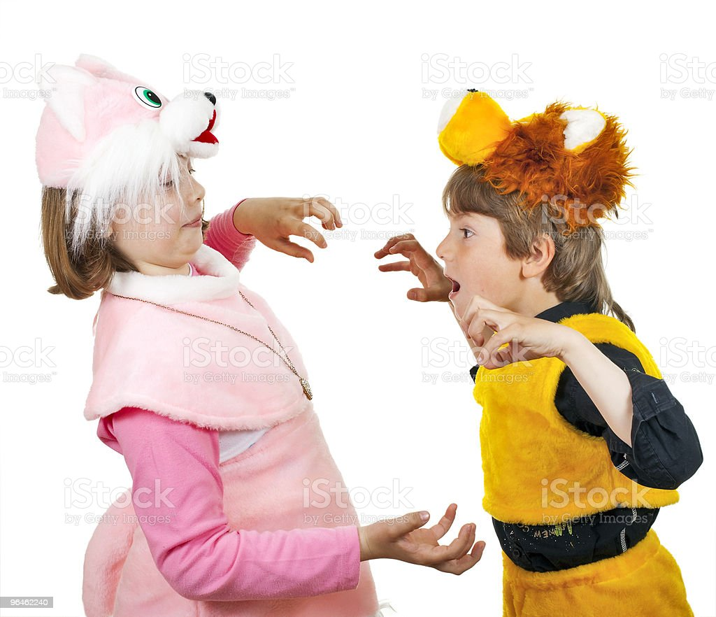 Girl  and boy play stock photo