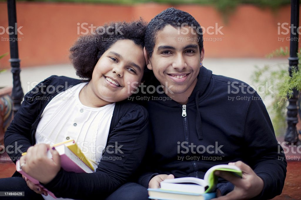 Girl and Boy Studying stock photo