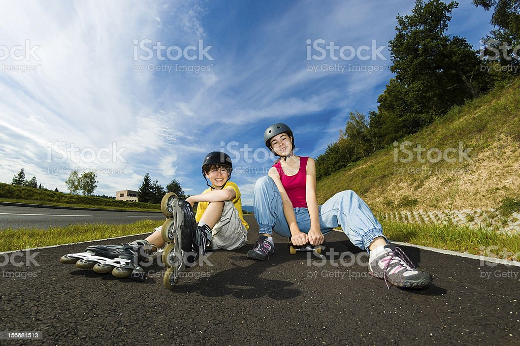 Girl and boy training outdoor royalty-free stock photo