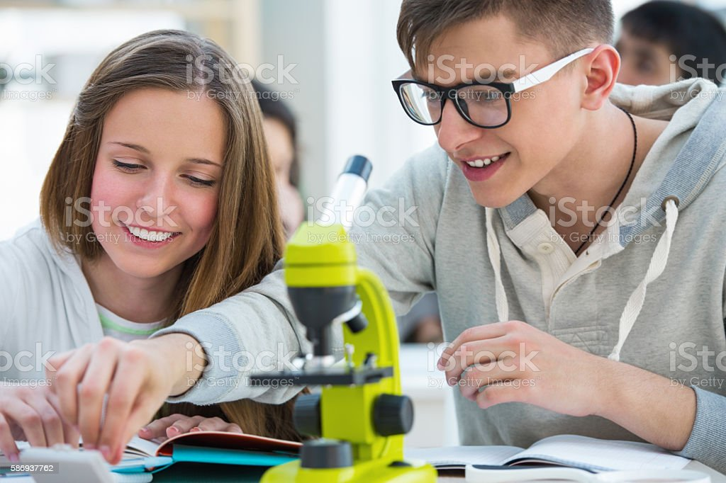 Girl and boy working together in biology class stock photo
