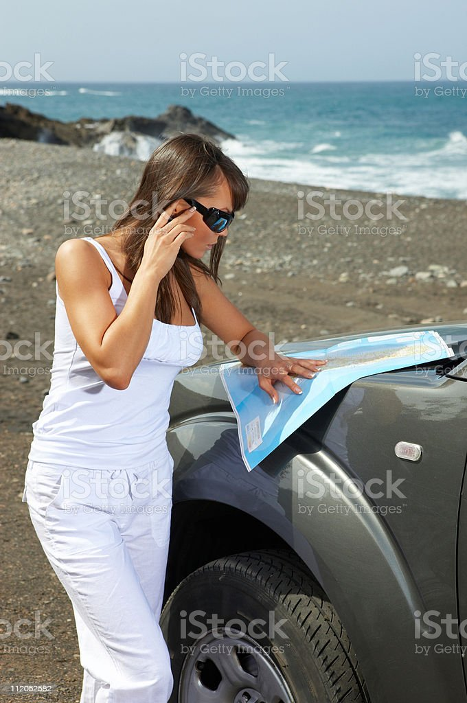Girl and Car royalty-free stock photo