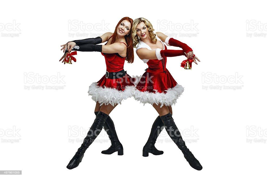 Girl and Christmas bells stock photo
