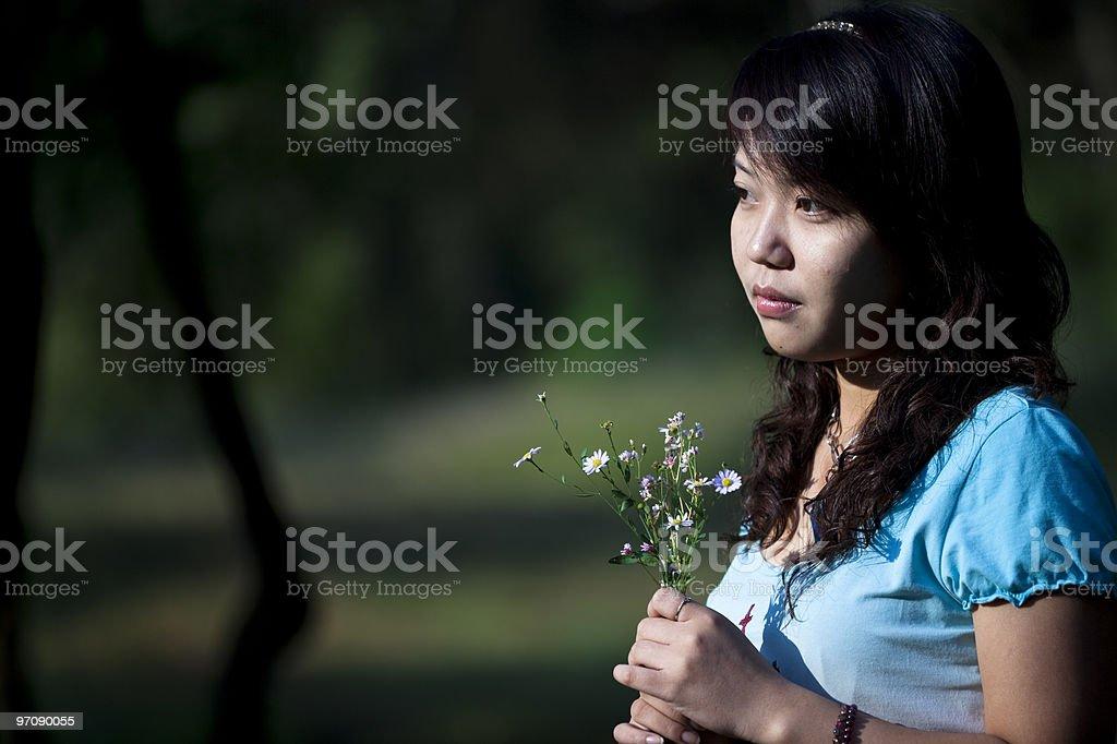 girl and daisy royalty-free stock photo