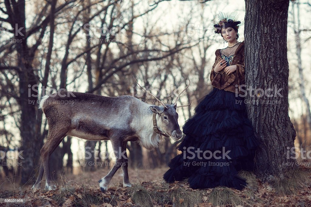 Girl and Deer in the forest stock photo