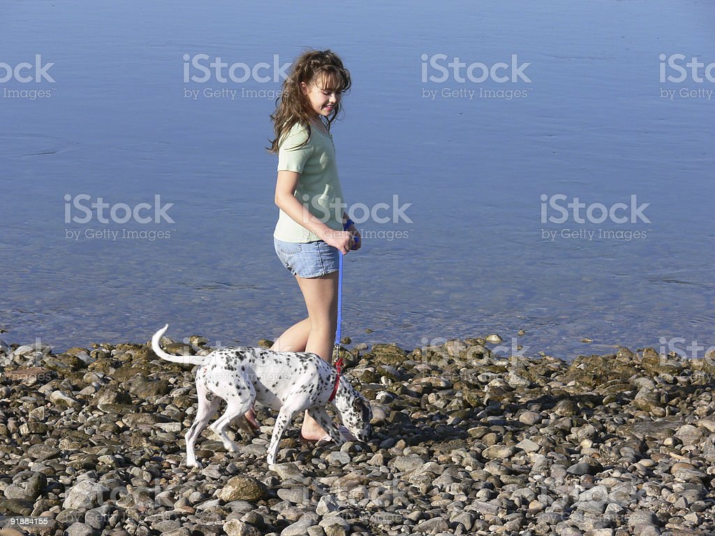 Girl and Dog at the river 4 royalty-free stock photo