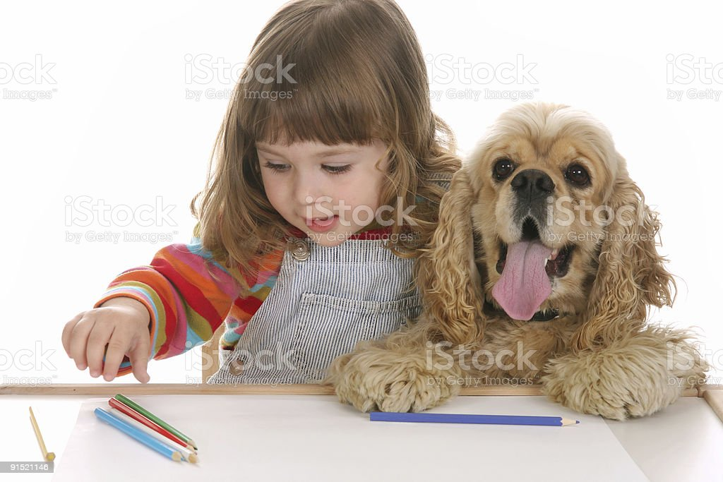 girl and dog in the school royalty-free stock photo