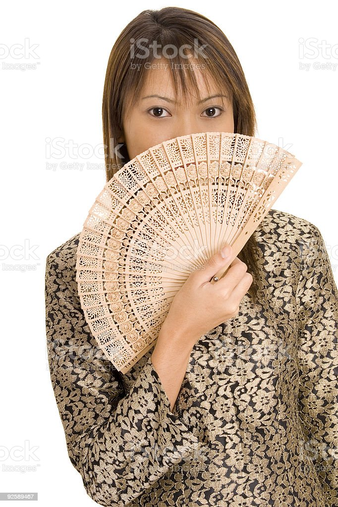 Girl and Fan 1 royalty-free stock photo