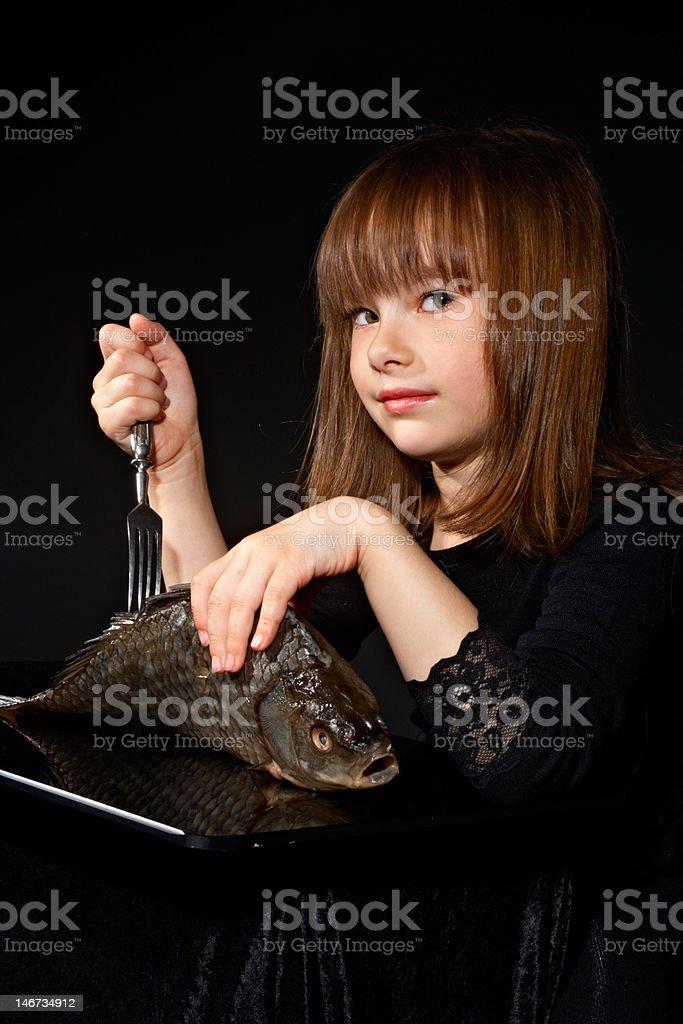 girl and fish royalty-free stock photo