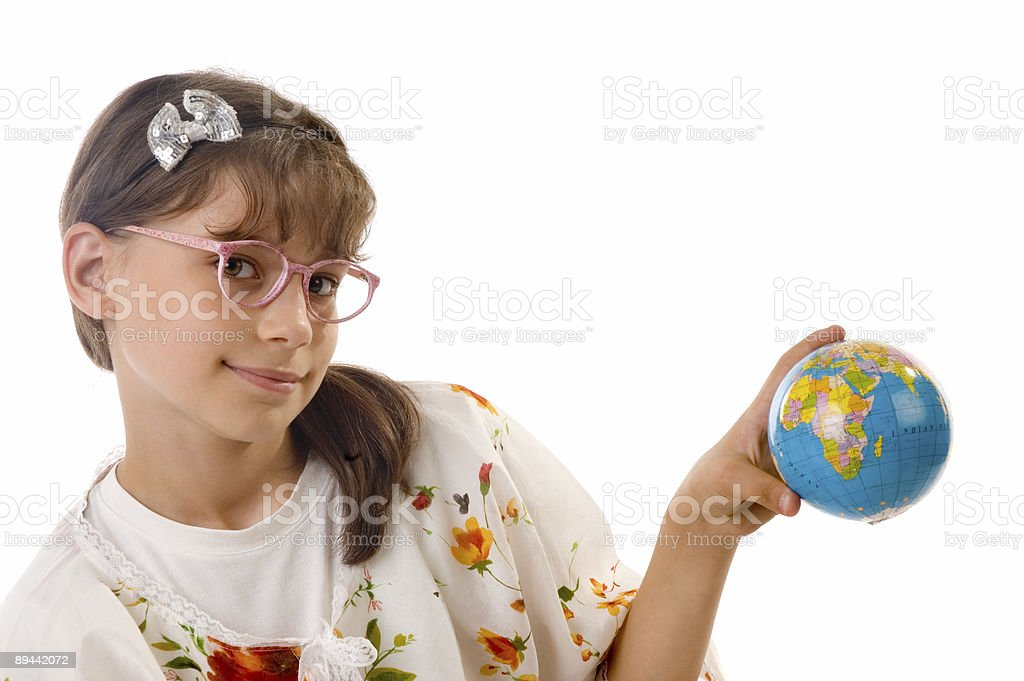 girl and globe royalty-free stock photo