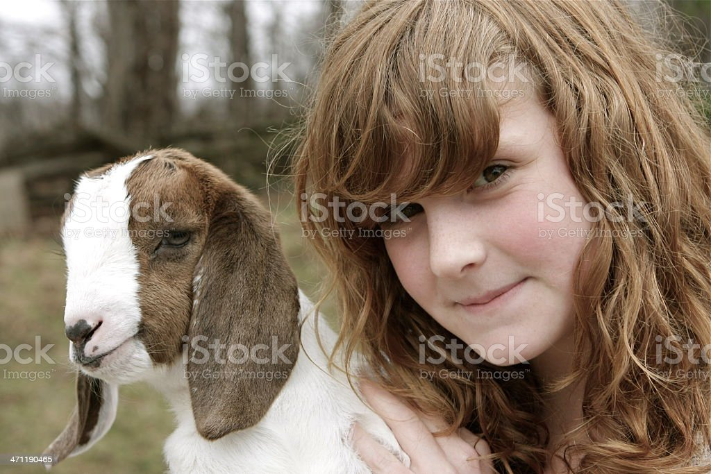 Girl and Goat royalty-free stock photo