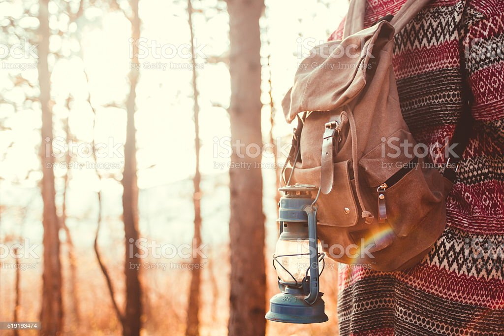 Girl and her backpack in wood on sunny autmn day stock photo