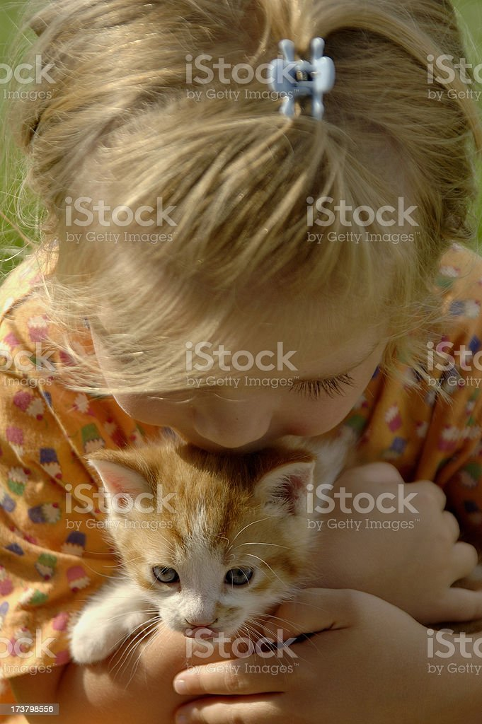 Girl and Her Cat royalty-free stock photo