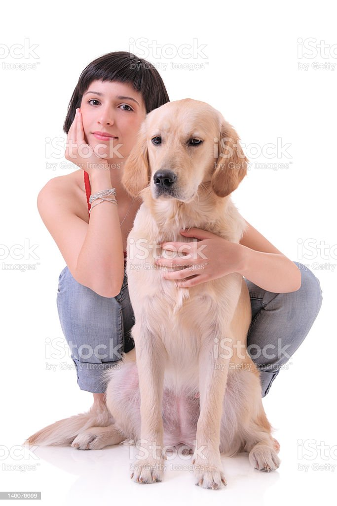 Girl and her dog (Golden retriever) royalty-free stock photo