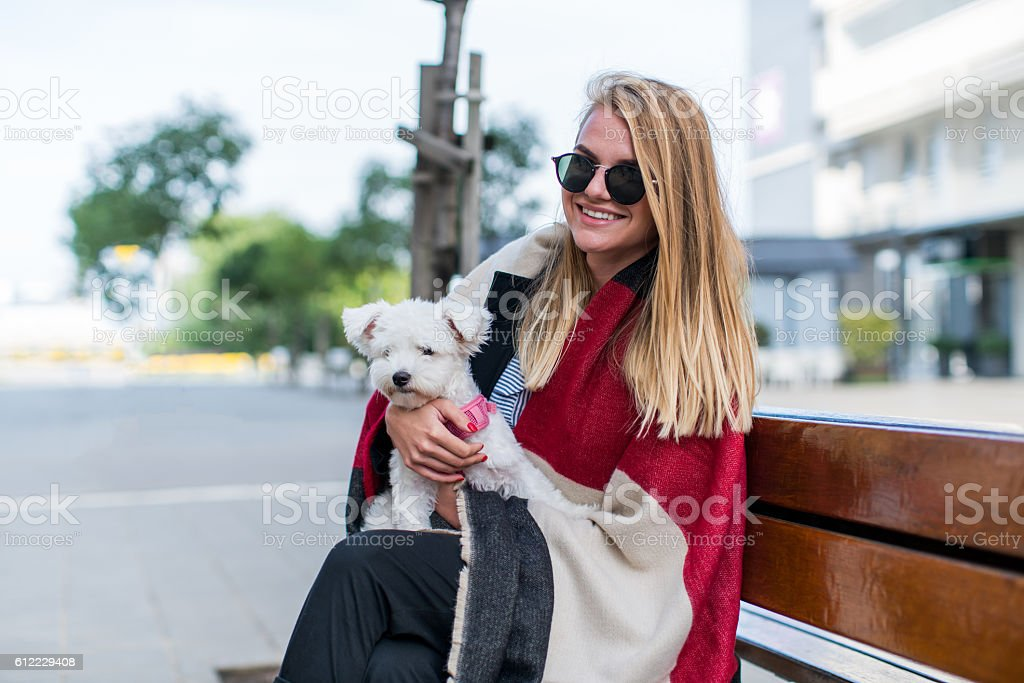 Girl and her dog stock photo