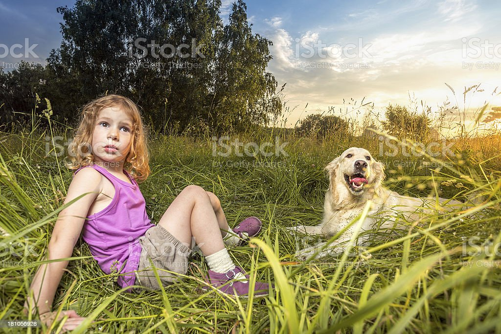 Girl and her faithful dog royalty-free stock photo