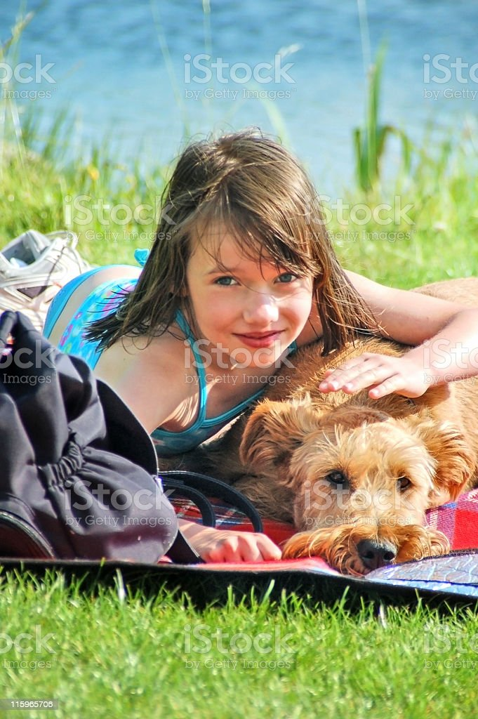Girl and her favorite Dog royalty-free stock photo