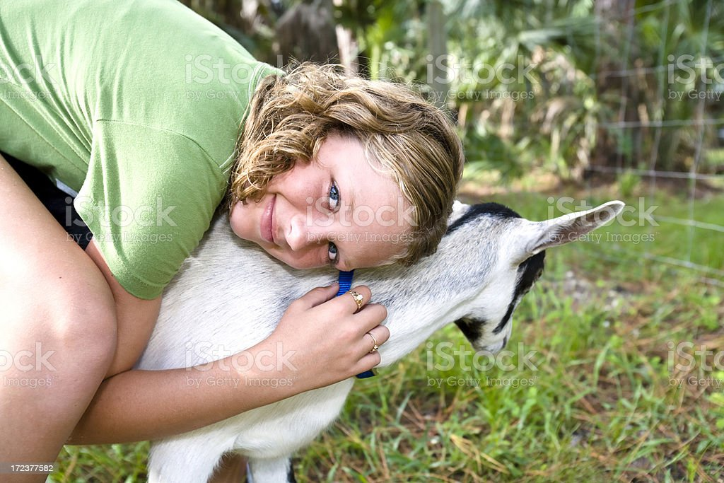 Girl and Her Goat stock photo