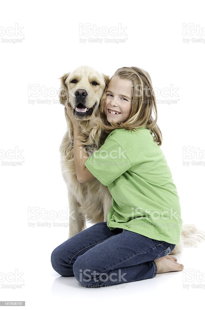 Girl and Her Golden Companion royalty-free stock photo