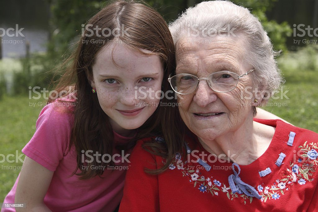 Girl and her Great Grandma stock photo