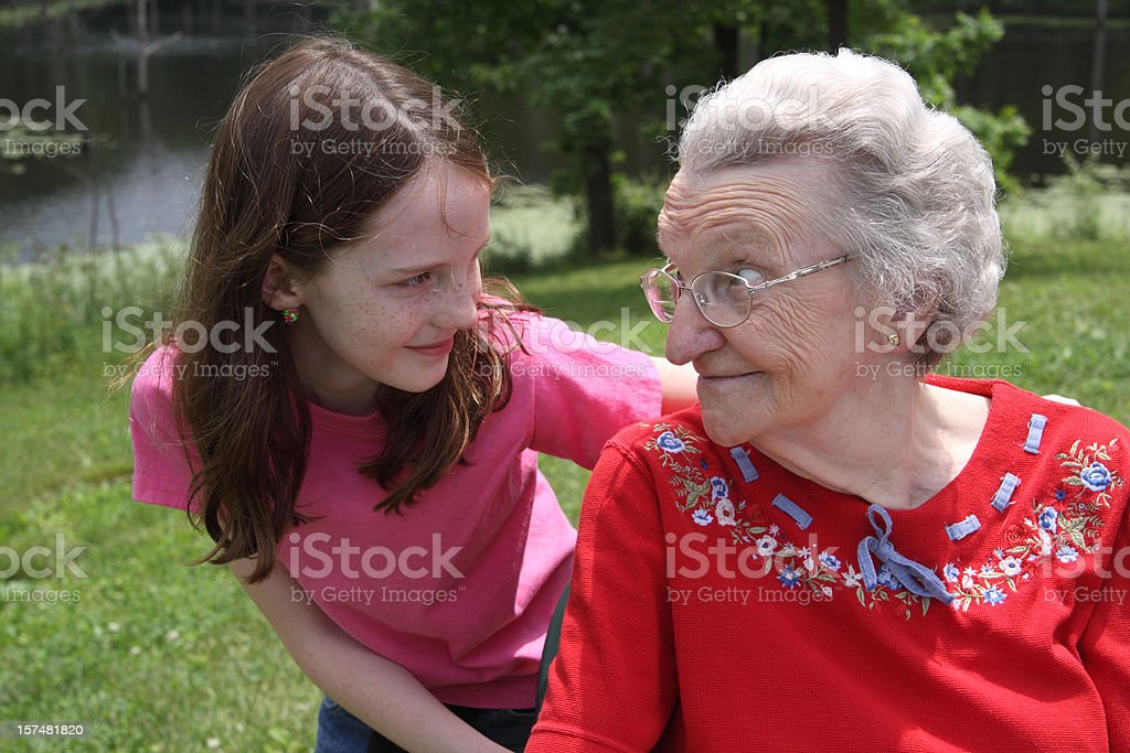 Girl and her Great Grandma royalty-free stock photo