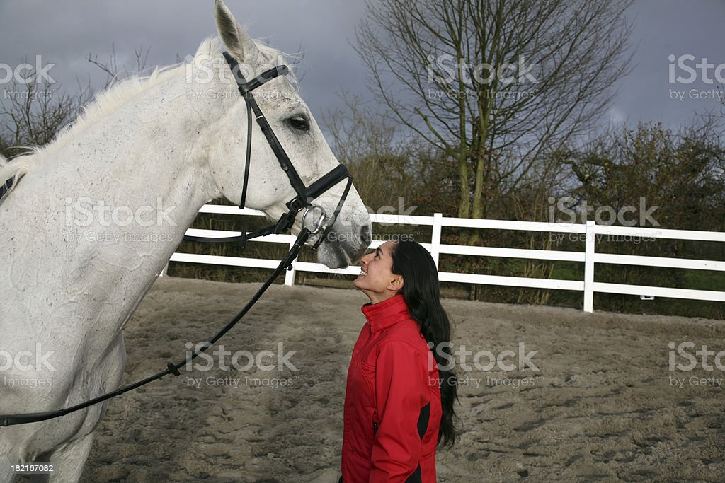 Girl and her horse 4 stock photo