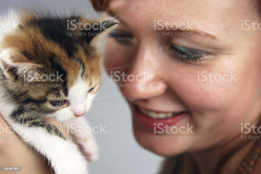 Girl and her kitty royalty-free stock photo