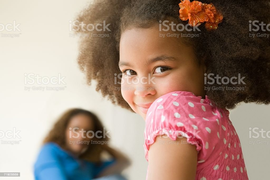 Girl and her mother royalty-free stock photo