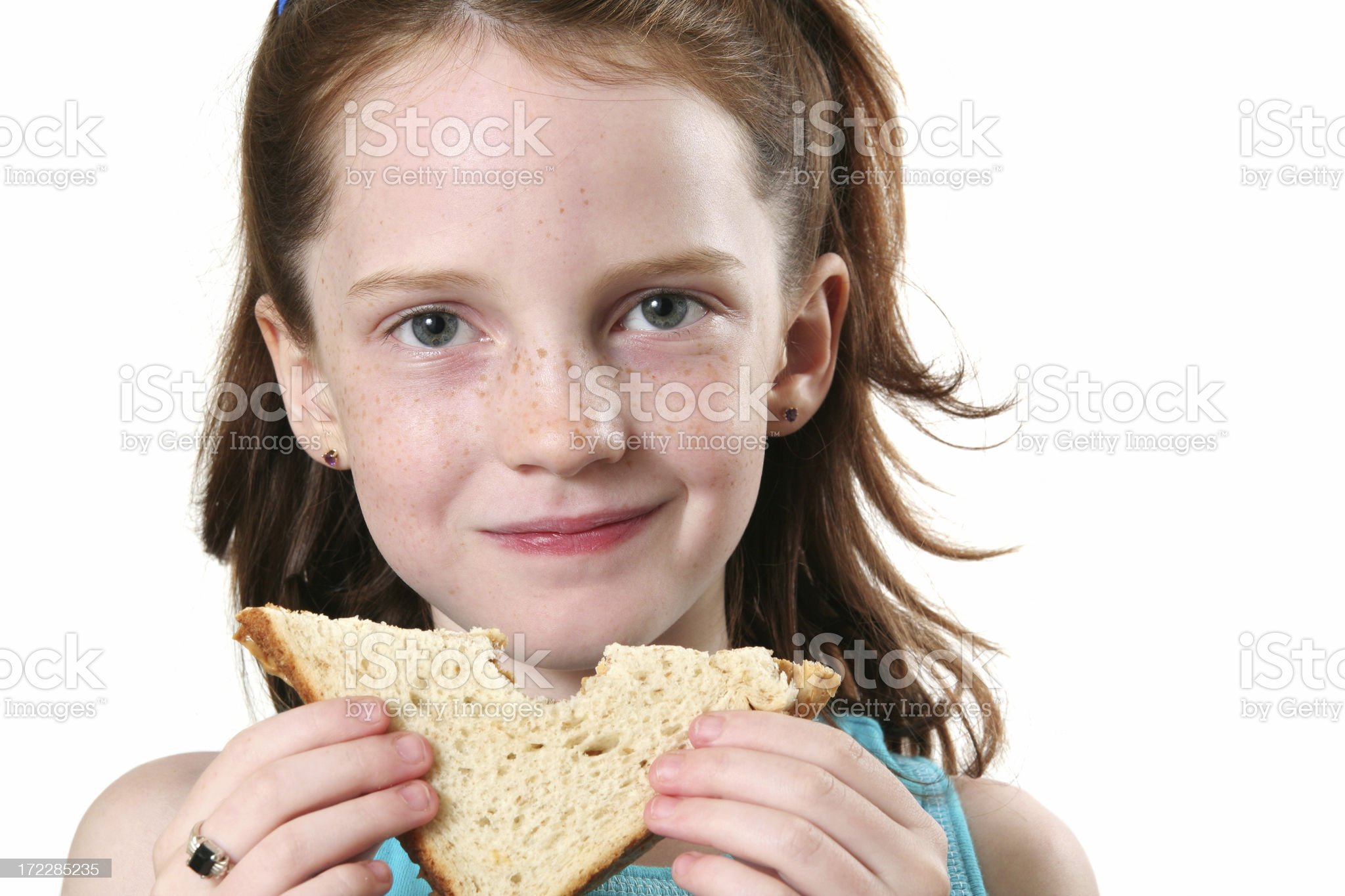 Girl and her Sandwich royalty-free stock photo
