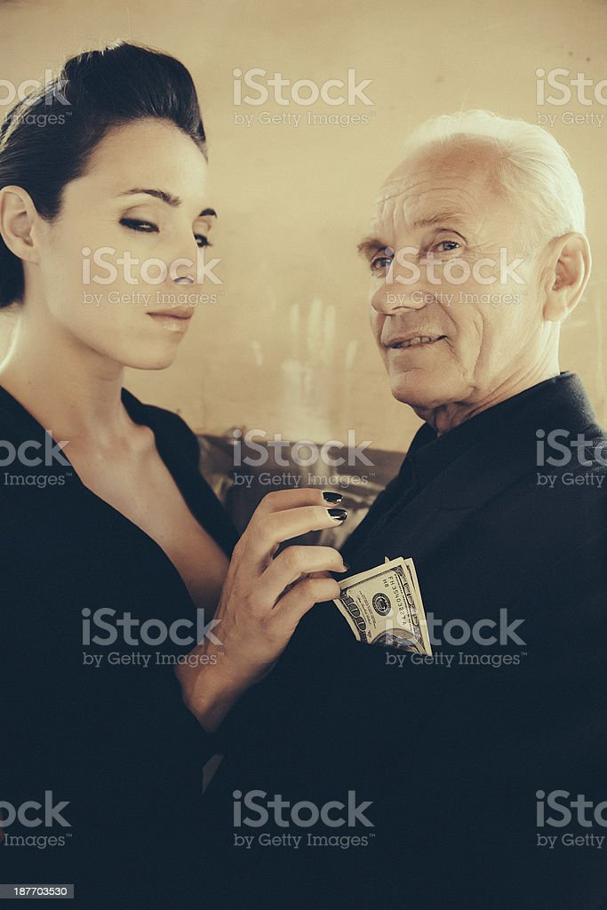 girl and her sugar daddy stock photo
