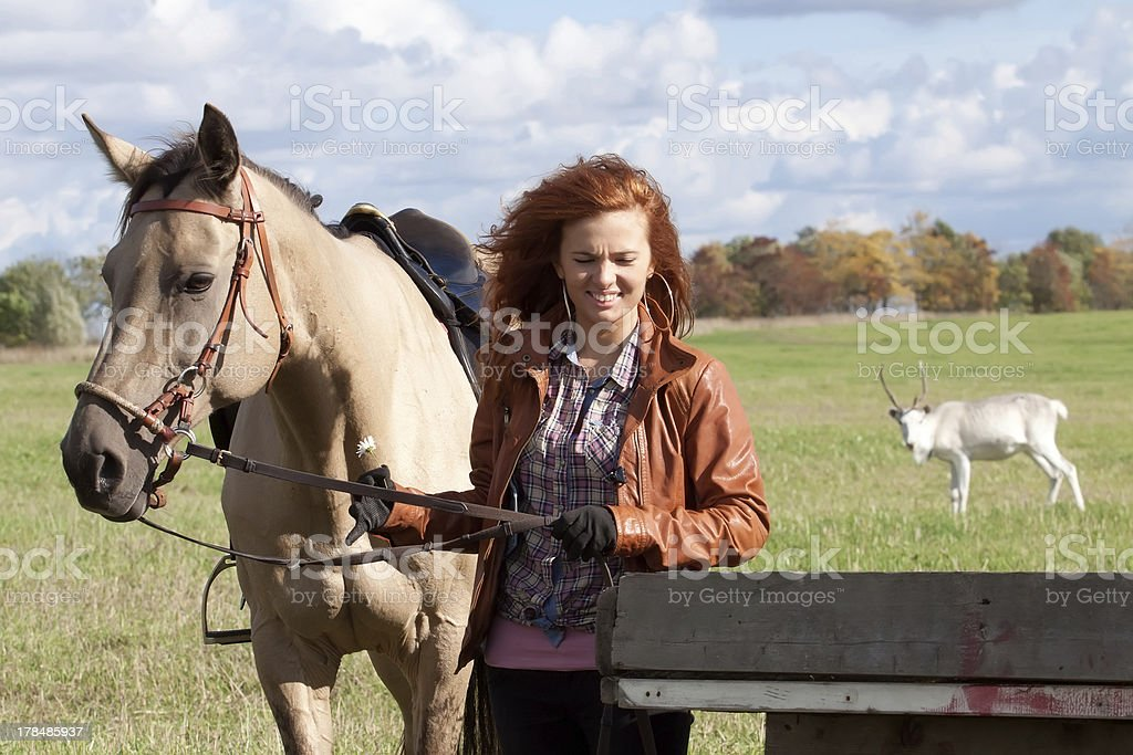 Girl and horse royalty-free stock photo