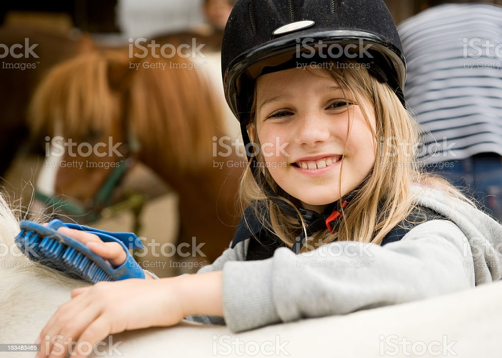 Girl and horses stock photo