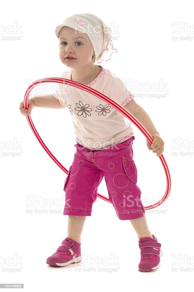 Girl and hula hoop royalty-free stock photo