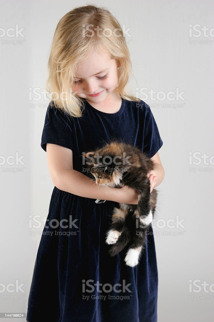 girl and kitten royalty-free stock photo