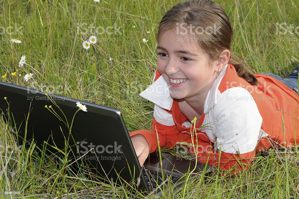 girl and laptop royalty-free stock photo