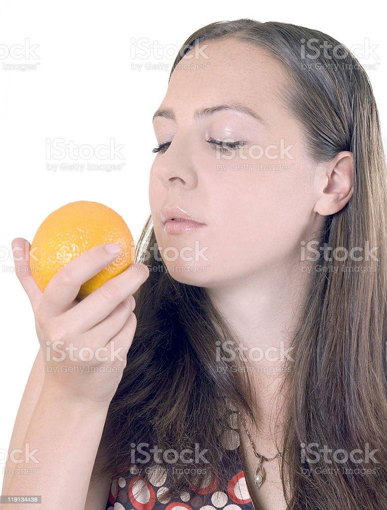 girl and orange stock photo