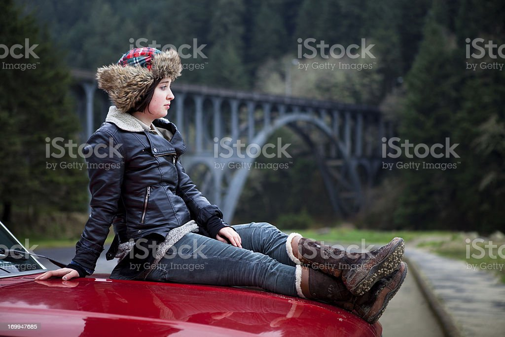 Girl and Pickup Truck at the Oregon Coast stock photo