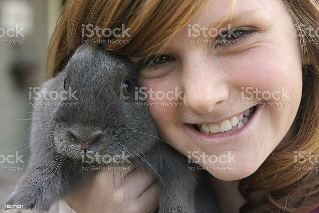 Girl and Rabbit royalty-free stock photo