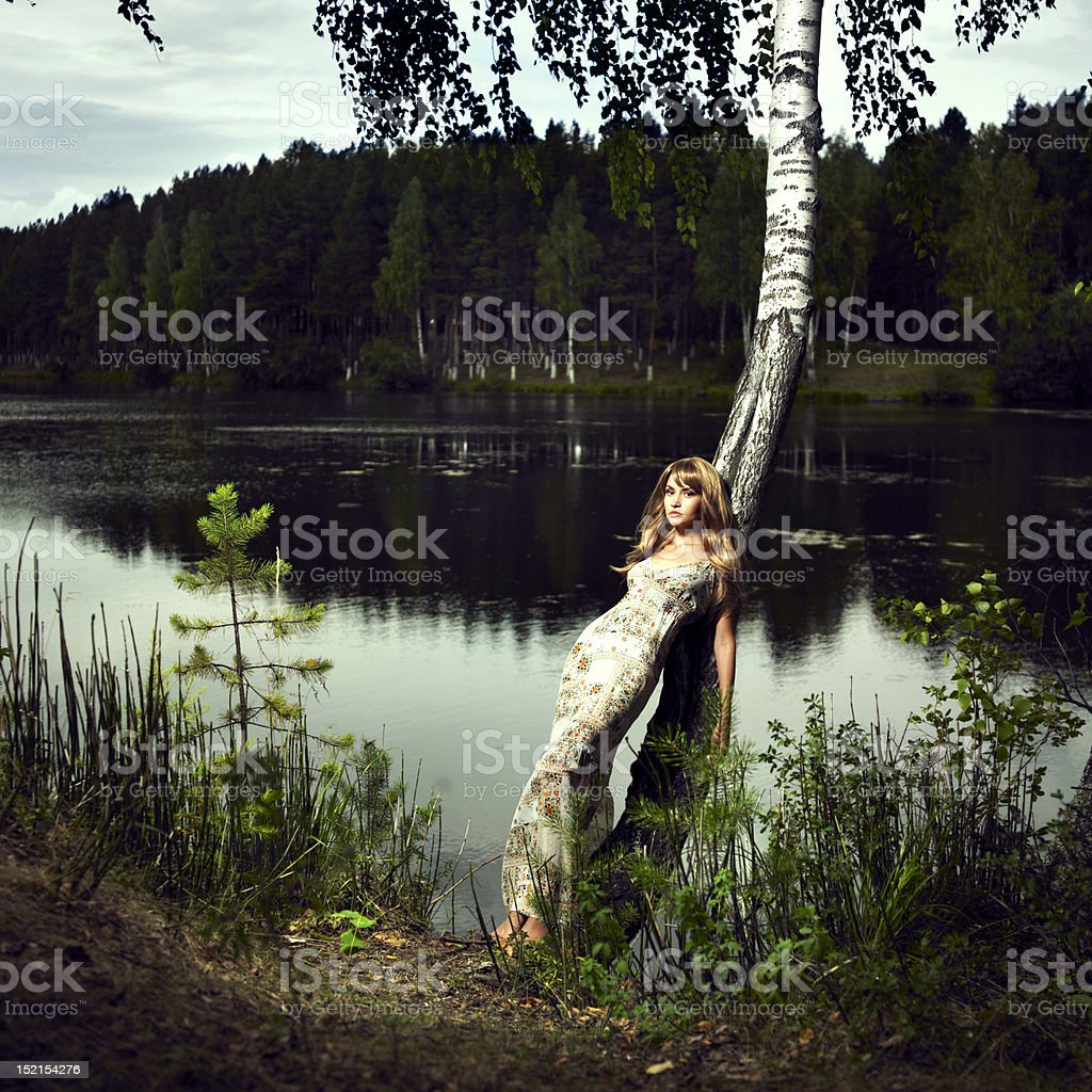 Girl and river royalty-free stock photo
